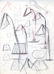 Kuvassa joukko Gunnel Nymanin tekemiä luonnoksia valaisimista Idmanille 1940-luvulla.